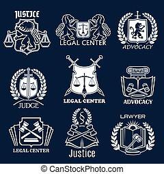セット, アイコン, 正義, advocacy, ベクトル, 法的, 弁護士