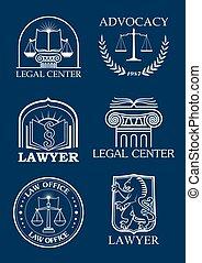 セット, アイコン, 法的, ベクトル, advocacy, 弁護士, ∥あるいは∥
