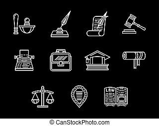 セット, アイコン, 法的, 規則, ベクトル, 白いライン