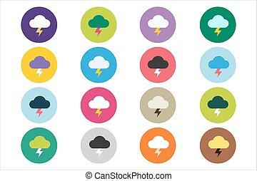 セット, アイコン, 注意, 印, 警告, 雲