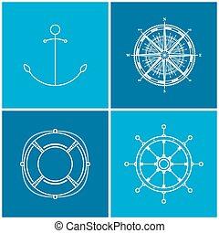 セット, アイコン, 海である, ベクトル