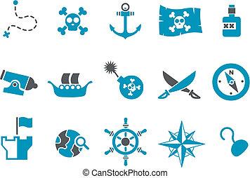セット, アイコン, 海賊
