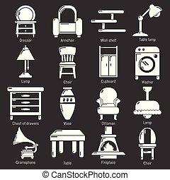 セット, アイコン, 灰色, ベクトル, 内部, 家具