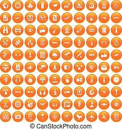 セット, アイコン, 無線, オレンジ, 100, 技術