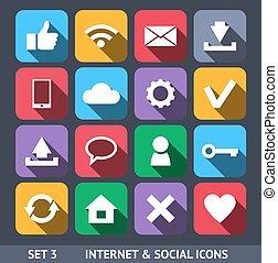 セット, アイコン, 社会, 長い間, 3, ベクトル, インターネット, 影