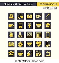 セット, アイコン, 科学, 灰色, 黄色, 技術