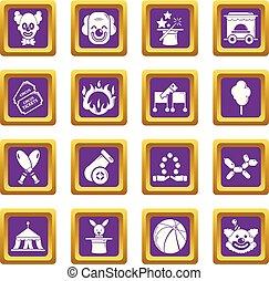 セット, アイコン, 紫色, サーカス, ベクトル, 広場