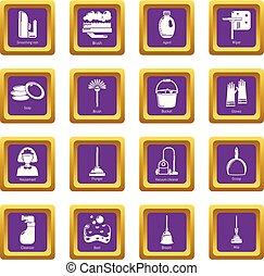 セット, アイコン, 紫色, ベクトル, 広場, 清掃, 道具