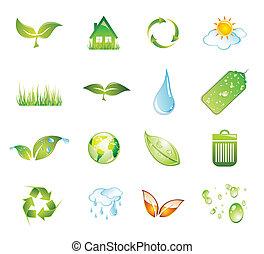 セット, アイコン, 緑, 環境