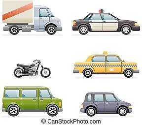 セット, アイコン, 自動車, イラスト, 現実的, ベクトル, デザイン, レトロ