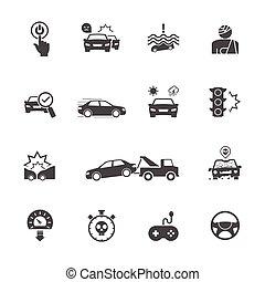 セット, アイコン, 自動車, 関係した, 事故, 始めなさい, ベクトル, 車。, あなた, engine., 考えなさい, 原因, 前に