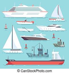 セット, アイコン, 船, 出荷, 海洋, ベクトル, 海, ボート, 輸送