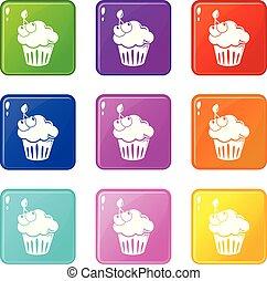 セット, アイコン, 色, さくらんぼ, コレクション, cupcake, 9
