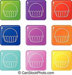 セット, アイコン, 色, コレクション, cupcake, 9