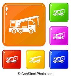 セット, アイコン, 色, トラック, クレーン, 増した