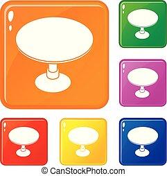 セット, アイコン, 色, ベクトル, テーブル, ラウンド