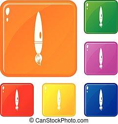 セット, アイコン, 色, ベクトル, ブラシ, 図画