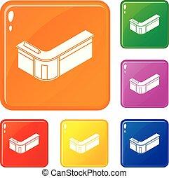 セット, アイコン, 色, ベクトル, レセプション, テーブル