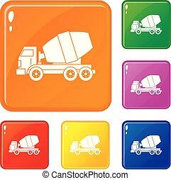 セット, アイコン, 色, ミキサー, コンクリート, ベクトル, トラック