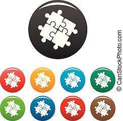セット, アイコン, 色, 困惑, 解決, チームワーク