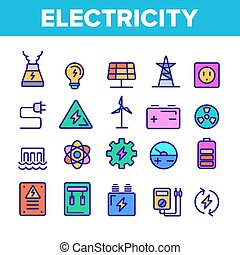 セット, アイコン, 色, 産業, 電気, ベクトル