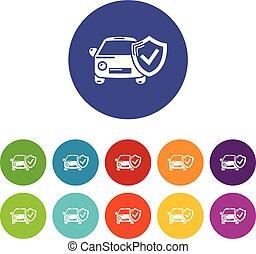 セット, アイコン, 色, 自動車, ベクトル, 保険