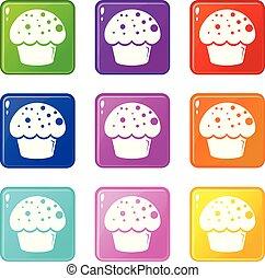 セット, アイコン, 色, 艶出し, コレクション, cupcake, 9