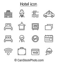 セット, アイコン, 薄くなりなさい, ホテル, 線, スタイル