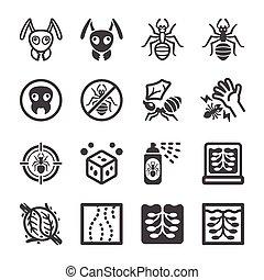 セット, アイコン, 蟻