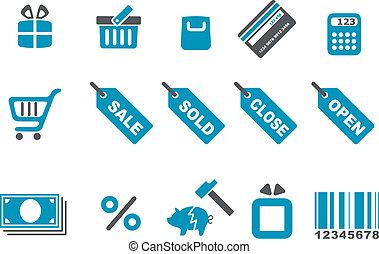 セット, アイコン, 買い物