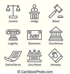 セット, アイコン, 陪審, 法的, 司法, 法律, 裁判官, アイコン