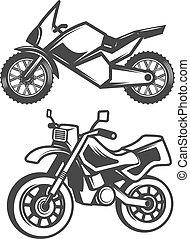 セット, アイコン, 隔離された, バックグラウンド。, オートバイ, 白