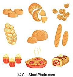 セット, アイコン, 隔離された, パン屋, ペストリー, 各種組み合わせ, bread