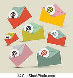 セット, アイコン, -, 電子メール, ベクトル, 封筒