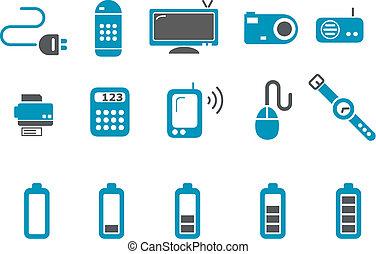 セット, アイコン, 電子