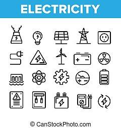 セット, アイコン, 電気, 産業, コレクション, ベクトル