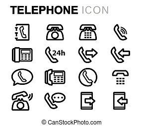セット, アイコン, 電話, ベクトル, 黒, 線