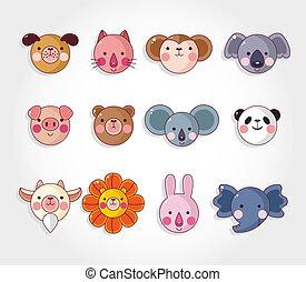 セット, アイコン, 顔, ベクトル, 漫画, 動物