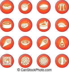 セット, アイコン, 食物, ベクトル, 日本, 赤