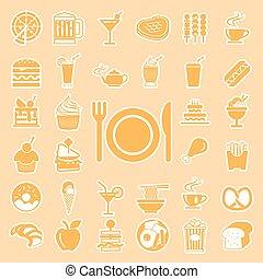 セット, アイコン, 食物, メニュー, 飲みなさい, ベクトル