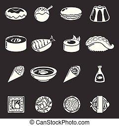 セット, アイコン, 食物, 灰色, ベクトル, 日本