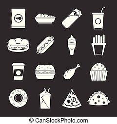 セット, アイコン, 食物, 灰色, 速い, ベクトル