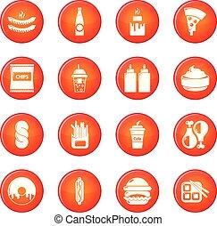 セット, アイコン, 食物, 速い, ベクトル, 赤