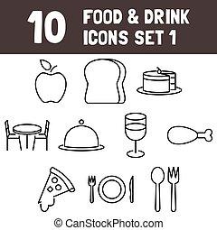&, セット, アイコン, 食物, msidiqf, 飲みなさい, -, 1