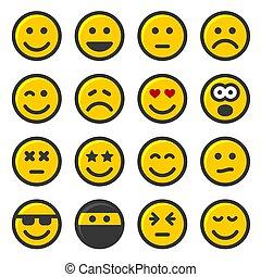 セット, アイコン, 黄色, バックグラウンド。, ベクトル, 微笑, 白