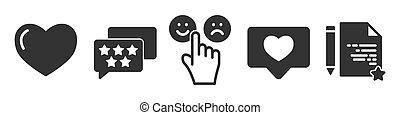 セット, アイコン, 黒, フィードバック, 単純である