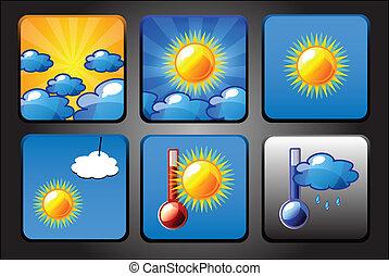 セット, アイコン, app, -, ベクトル, 背景, 天候