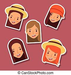セット, アイコン, avatar, 顔, 女性, 幸せ