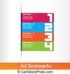 セット, アイコン, bookmarks, テンプレート
