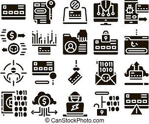 セット, アイコン, carder, コレクション, 要素, ベクトル, ハッカー